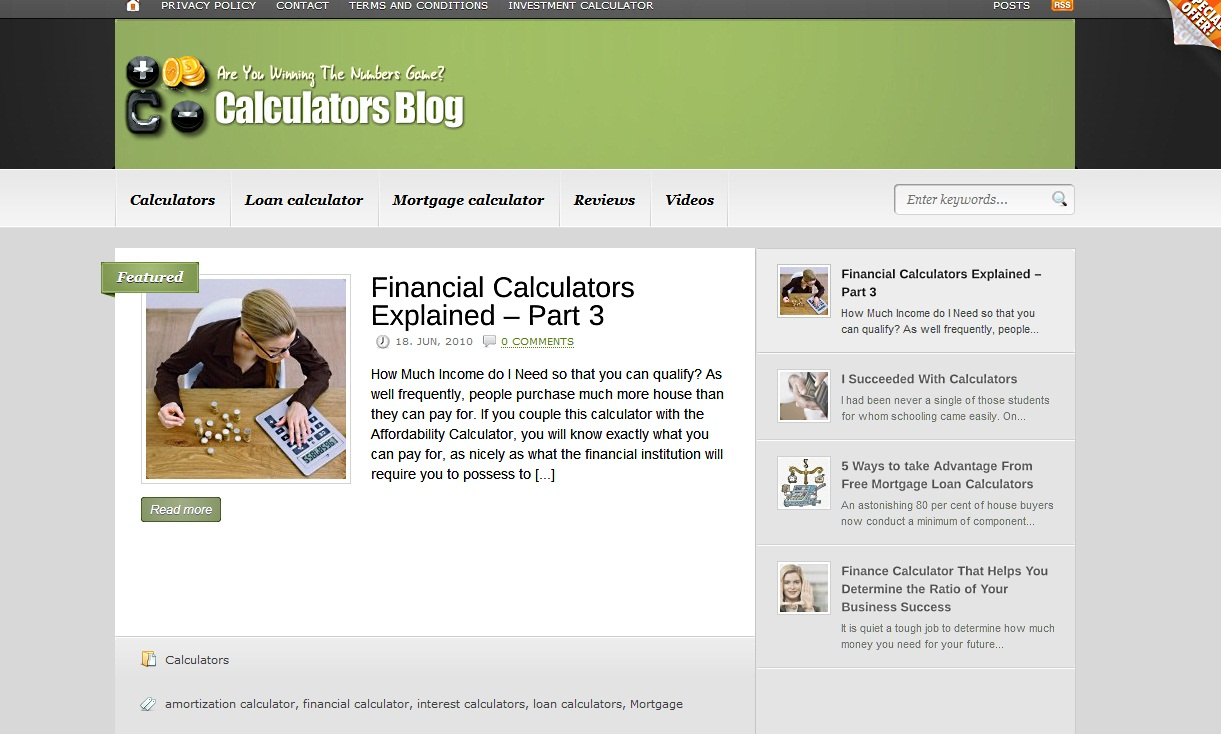 Calculators Blog – New niche custom blog